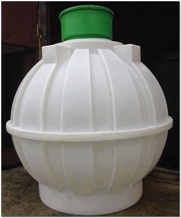 Накопительная емкость для канализации из полипропилена в виде шара