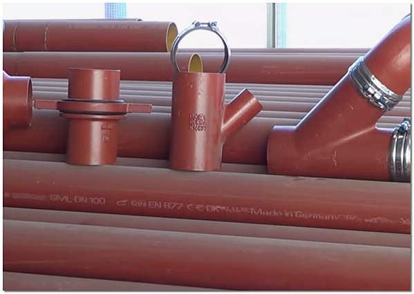 Безраструбные чугунные трубы SML с фасонными элементами фото