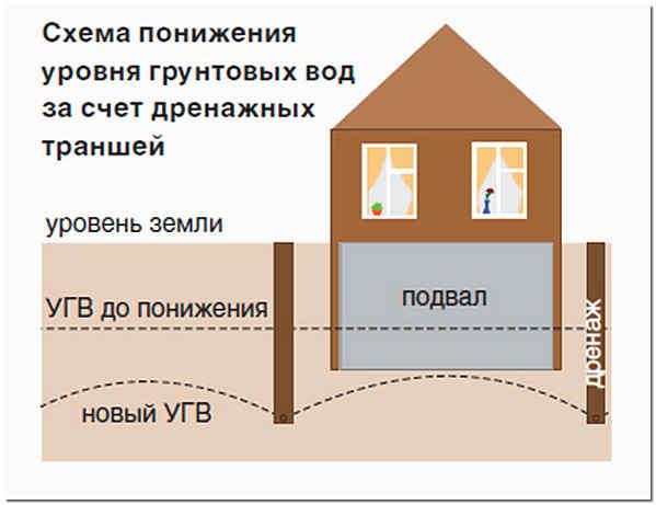 Дренаж дома схема понижения уровня грунтовых вод за счет дренажа