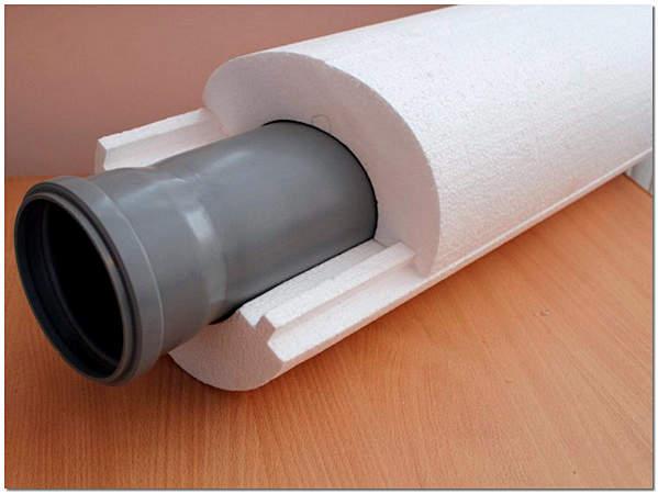 Скорлупа из пенополистирола для утепления канализационных труб фото
