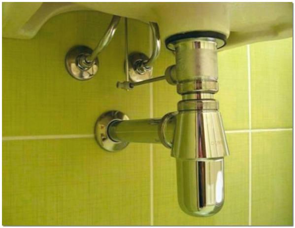 Подсоединение хромированного сифона раковины к канализации