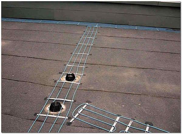 Система кабельного обогрева вокруг воронки внутреннего водостока фото