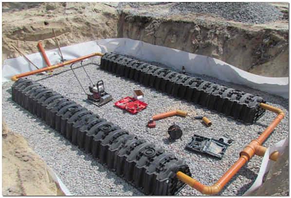 Установка инфильтрационных тоннелей FloTenk