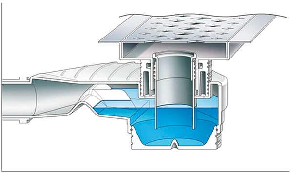 Схема сливного трапа с гидрозатвором